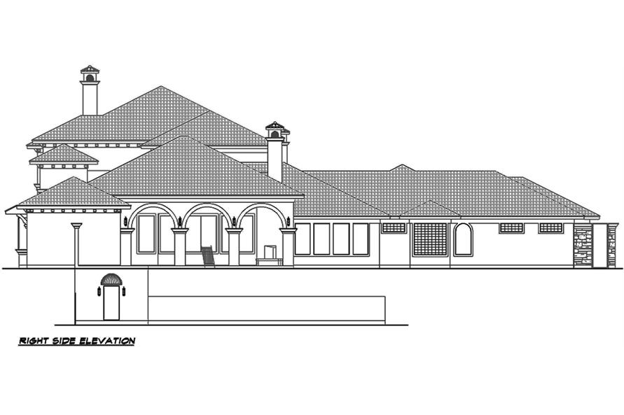 Home Plan Right Elevation of this 4-Bedroom,8647 Sq Ft Plan -195-1126