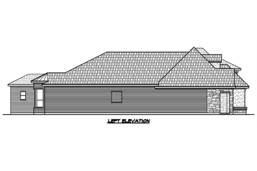 Home Plan Left Elevation of this 3-Bedroom,2921 Sq Ft Plan -195-1129