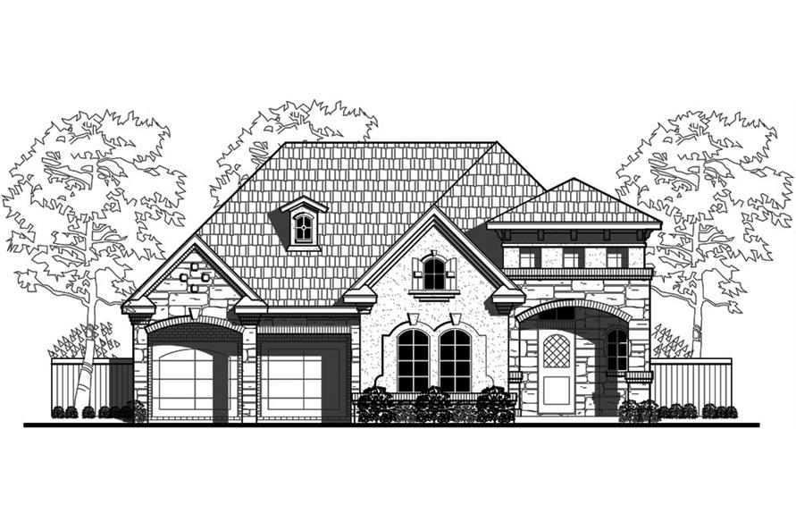 Home Plan Front Elevation of this 3-Bedroom,2921 Sq Ft Plan -195-1129