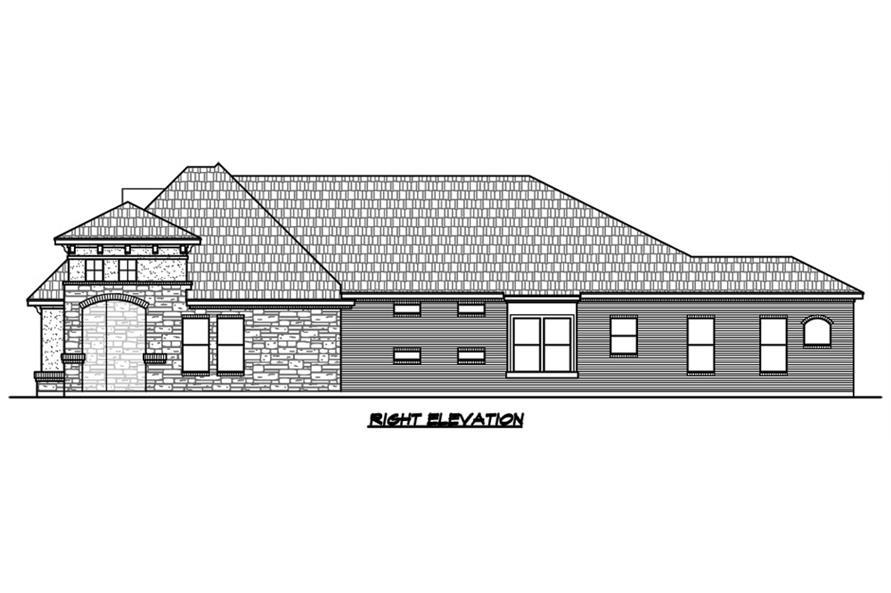 Home Plan Right Elevation of this 3-Bedroom,2921 Sq Ft Plan -195-1129