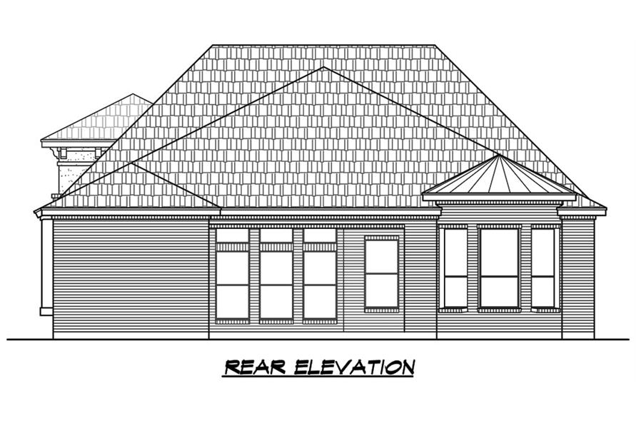 Home Plan Rear Elevation of this 3-Bedroom,2921 Sq Ft Plan -195-1129