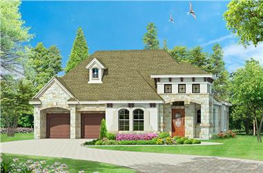 Color rendering of Tuscan home plan (ThePlanCollection: House Plan #195-1129)
