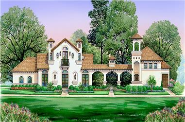 Front elevation of Mediterranean home (ThePlanCollection: House Plan #195-1128)