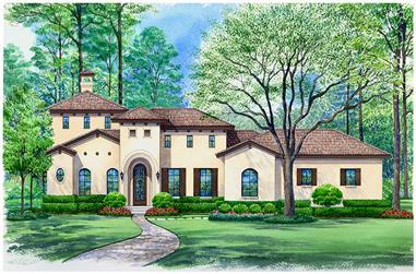 3-Bedroom, 3935 Sq Ft Mediterranean Home Plan - 195-1133 - Main Exterior