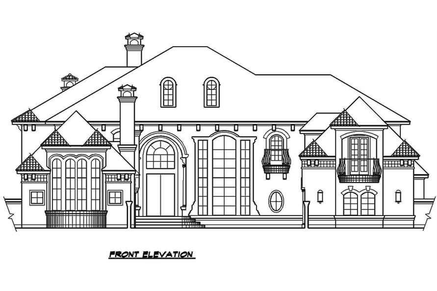 Home Plan Front Elevation of this 3-Bedroom,5956 Sq Ft Plan -195-1134