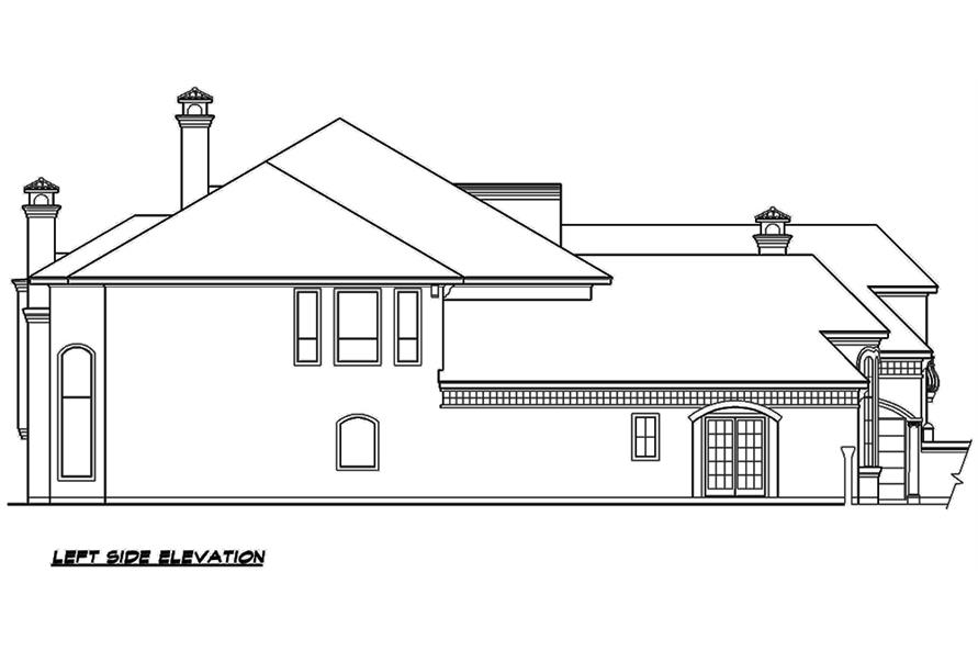Home Plan Left Elevation of this 3-Bedroom,5956 Sq Ft Plan -195-1134