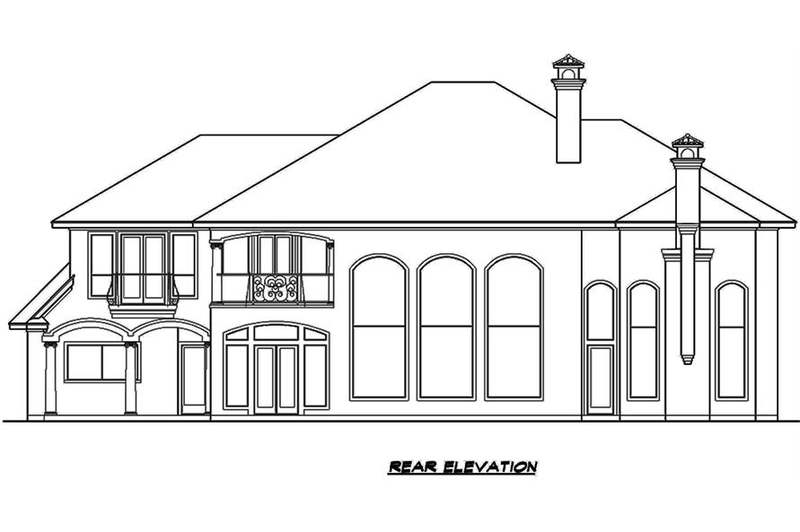 Home Plan Rear Elevation of this 3-Bedroom,5956 Sq Ft Plan -195-1134