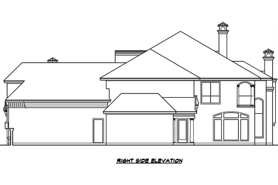 Home Plan Right Elevation of this 3-Bedroom,5956 Sq Ft Plan -195-1134