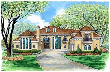 Front elevation of Mediterranean home (ThePlanCollection: House Plan #195-1134)