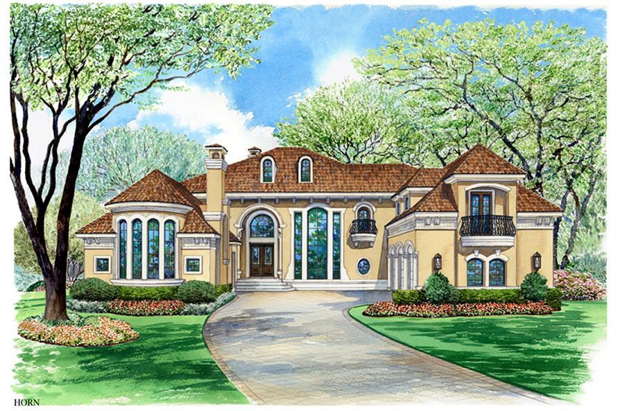 3-Bedroom, 5956 Sq Ft Mediterranean Home Plan - 195-1134 - Main Exterior