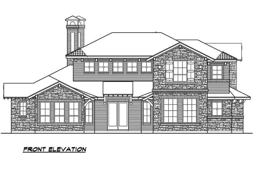 Home Plan Front Elevation of this 4-Bedroom,3858 Sq Ft Plan -195-1135