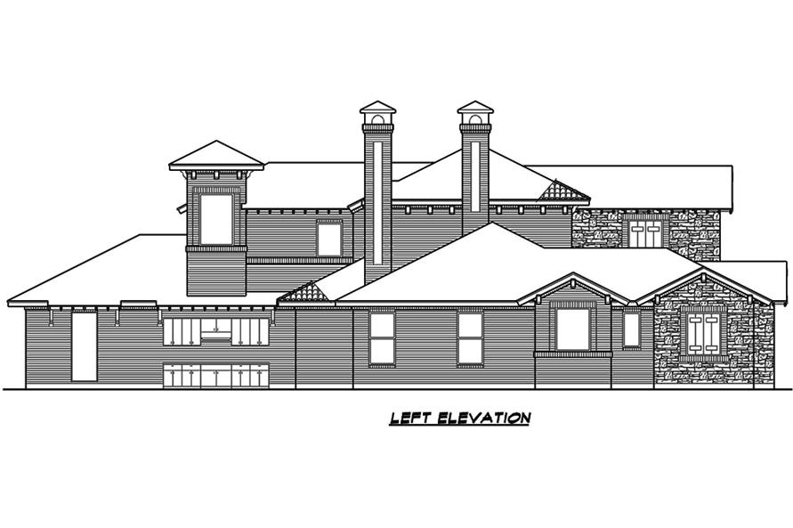 Home Plan Left Elevation of this 4-Bedroom,3858 Sq Ft Plan -195-1135