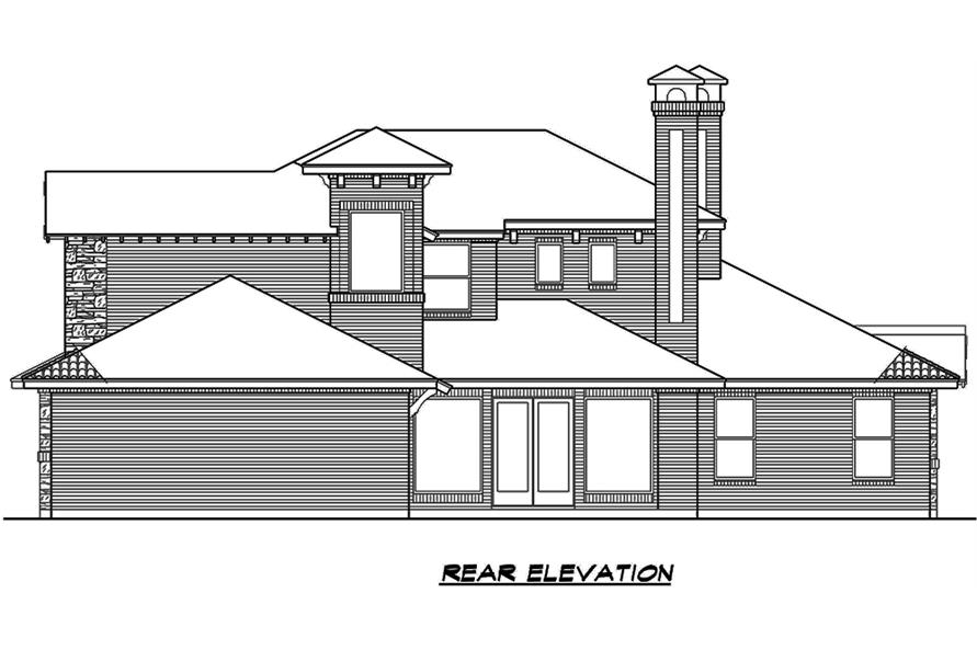 Home Plan Rear Elevation of this 4-Bedroom,3858 Sq Ft Plan -195-1135