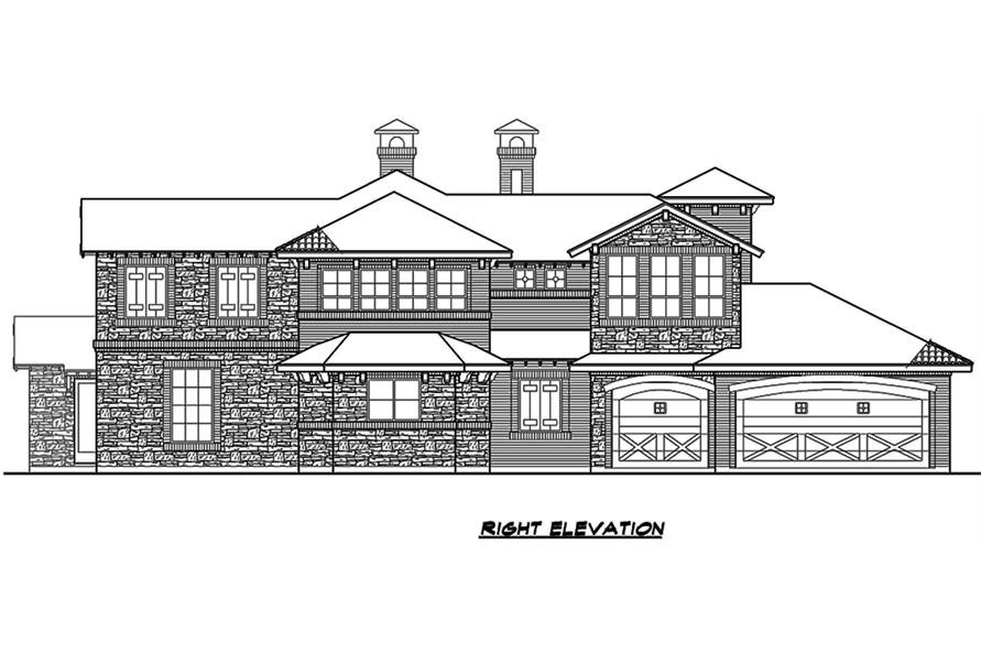 Home Plan Right Elevation of this 4-Bedroom,3858 Sq Ft Plan -195-1135