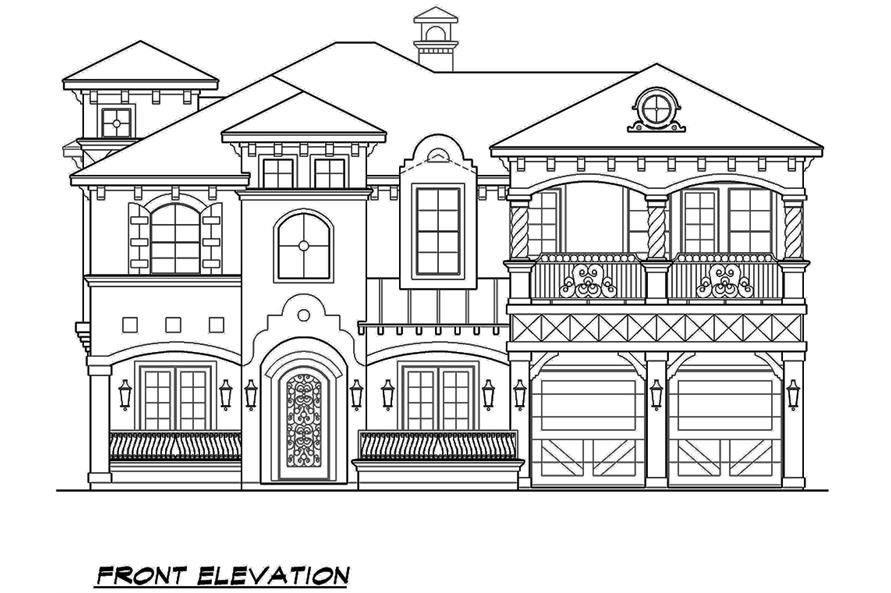 Home Plan Front Elevation of this 4-Bedroom,3995 Sq Ft Plan -195-1138