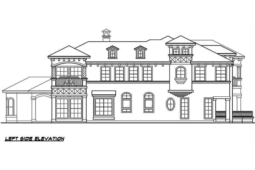 Home Plan Left Elevation of this 4-Bedroom,3995 Sq Ft Plan -195-1138