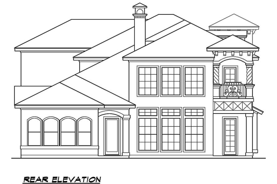 Home Plan Rear Elevation of this 4-Bedroom,3995 Sq Ft Plan -195-1138