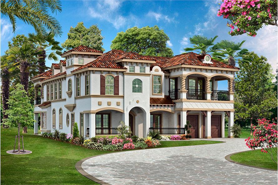 4-Bedroom, 3995 Sq Ft Mediterranean House Plan - 195-1138 - Front Exterior