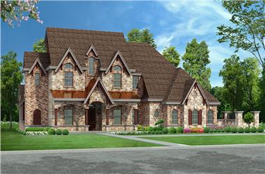 Front elevation of Tudor home (ThePlanCollection: House Plan #195-1142)