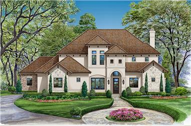 4-Bedroom, 3560 Sq Ft Mediterranean Home Plan - 195-1149 - Main Exterior