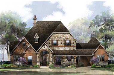 4-Bedroom, 3573 Sq Ft Tudor Home Plan - 195-1151 - Main Exterior
