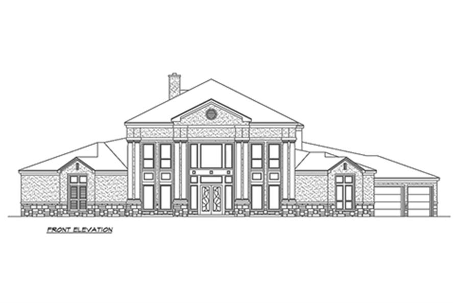 Home Plan Front Elevation of this 4-Bedroom,4873 Sq Ft Plan -195-1152