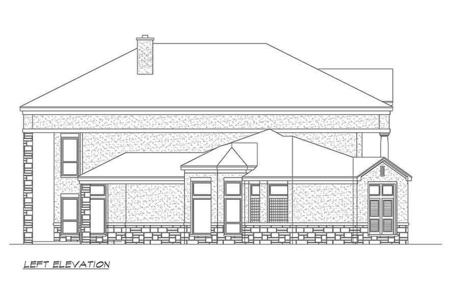 Home Plan Left Elevation of this 4-Bedroom,4873 Sq Ft Plan -195-1152