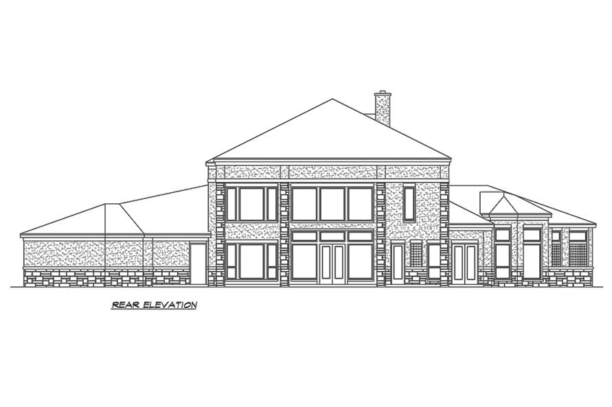 Home Plan Rear Elevation of this 4-Bedroom,4873 Sq Ft Plan -195-1152