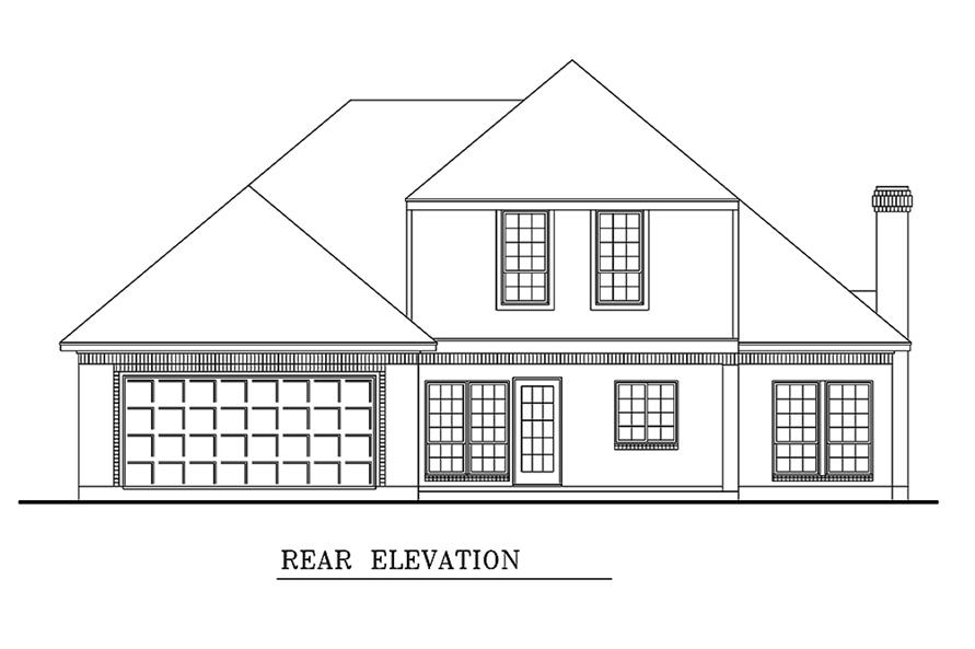Home Plan Rear Elevation of this 3-Bedroom,1861 Sq Ft Plan -195-1154