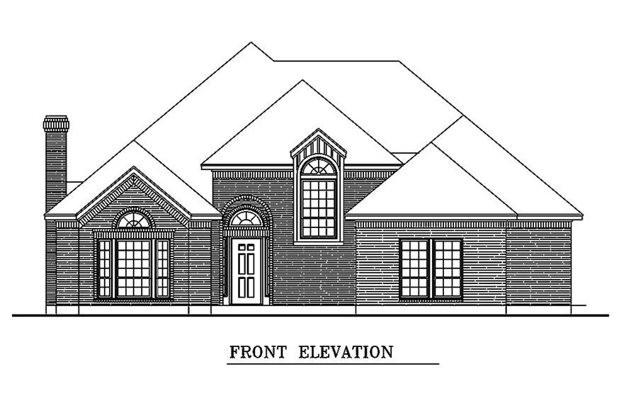 Home Plan Front Elevation of this 3-Bedroom,1861 Sq Ft Plan -195-1154