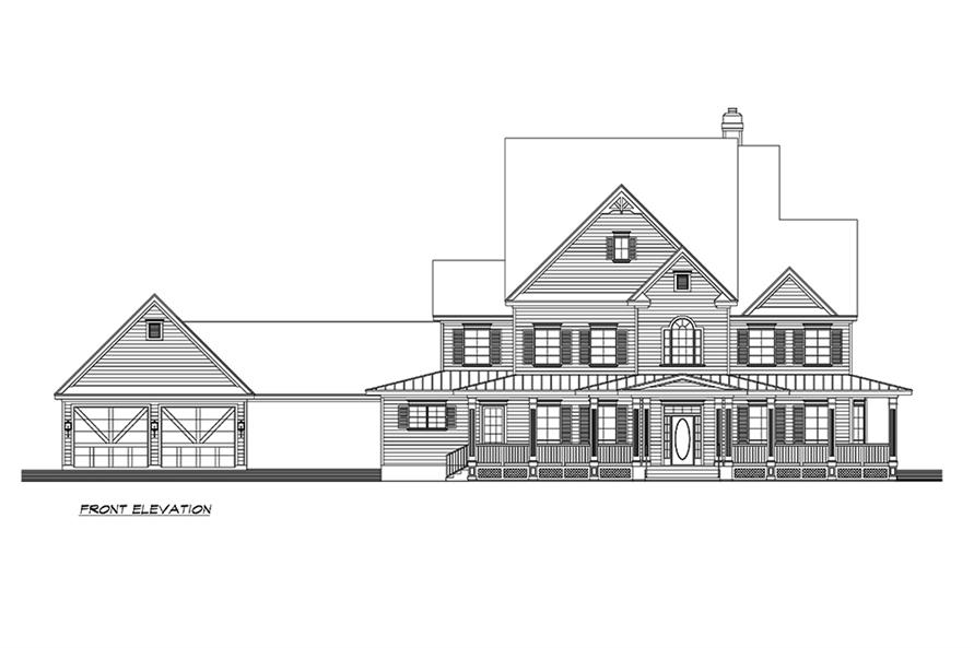 Home Plan Front Elevation of this 3-Bedroom,3415 Sq Ft Plan -195-1156