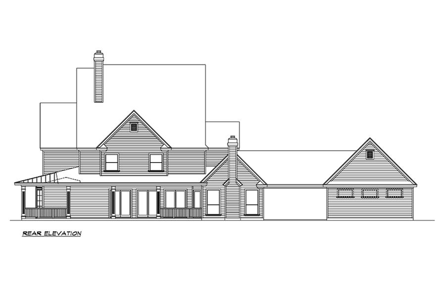 Home Plan Rear Elevation of this 3-Bedroom,3415 Sq Ft Plan -195-1156
