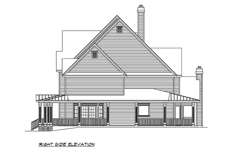 Home Plan Right Elevation of this 3-Bedroom,3415 Sq Ft Plan -195-1156