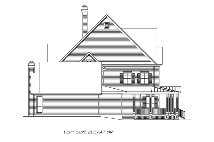 Home Plan Left Elevation of this 3-Bedroom,3415 Sq Ft Plan -195-1156