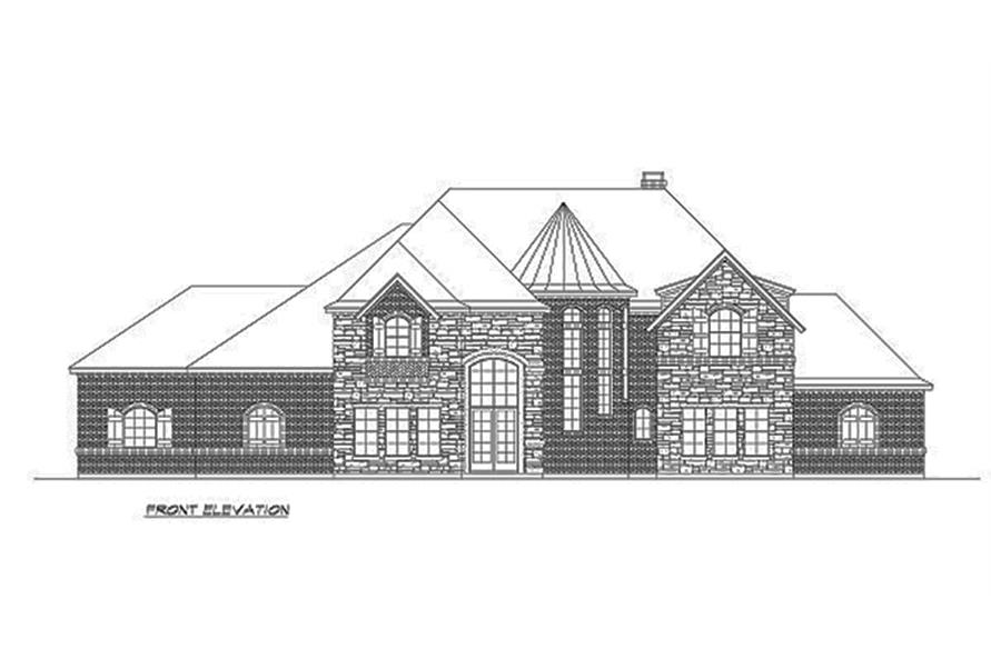 Home Plan Front Elevation of this 4-Bedroom,5165 Sq Ft Plan -195-1160