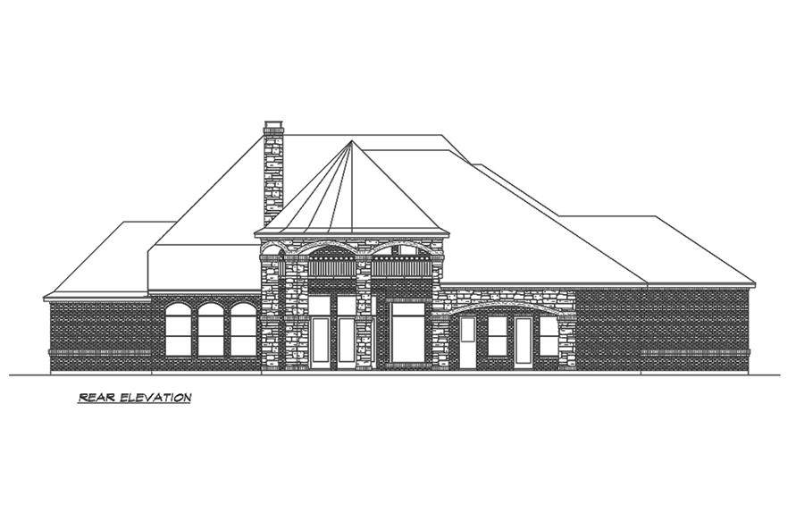 Home Plan Rear Elevation of this 4-Bedroom,5165 Sq Ft Plan -195-1160