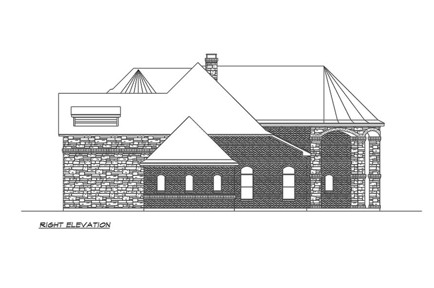 Home Plan Right Elevation of this 4-Bedroom,5165 Sq Ft Plan -195-1160