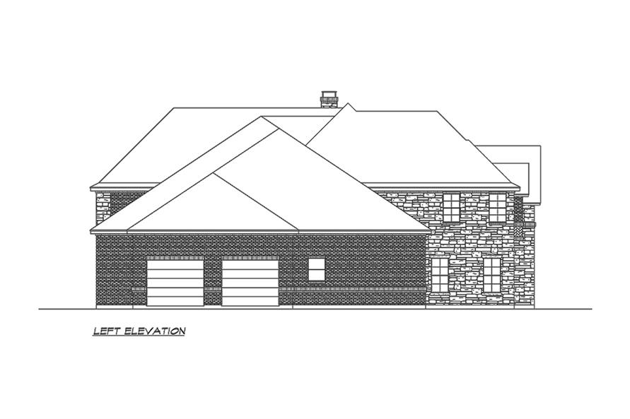 Home Plan Left Elevation of this 4-Bedroom,5165 Sq Ft Plan -195-1160
