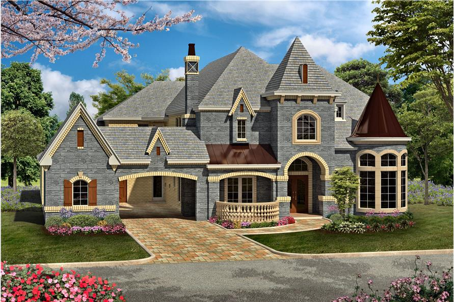 Home Plan Rear Elevation of this 5-Bedroom,6065 Sq Ft Plan -195-1161