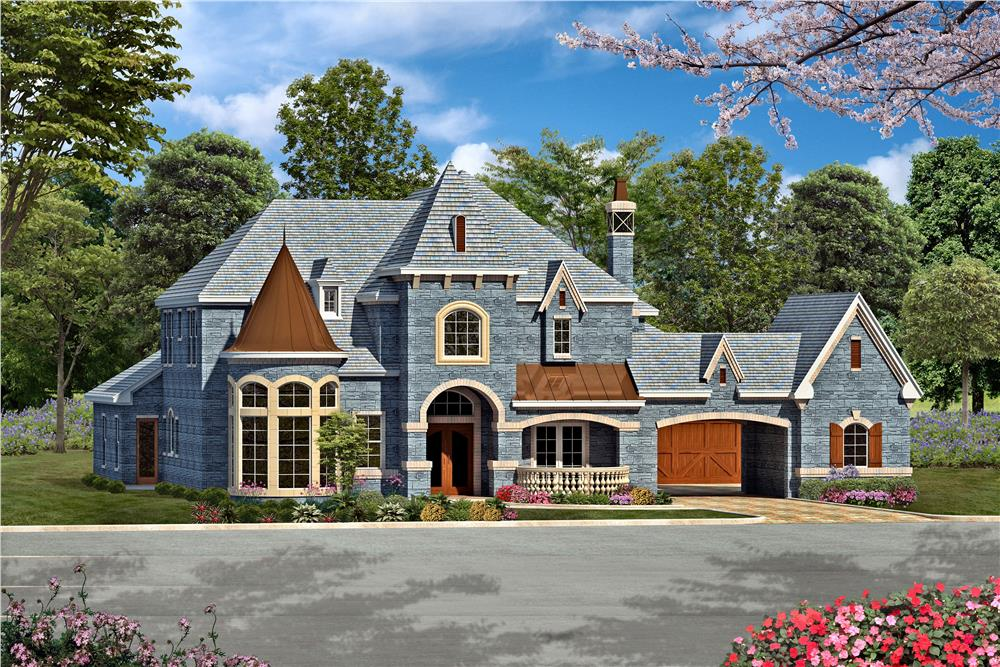 Front rendering of Luxury European style home plan (The Plan Collection: House Plan #195-1161).