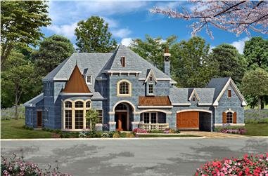 Front rendering of Luxury European style home plan (The Plan Collection: House Plan #195-1016).