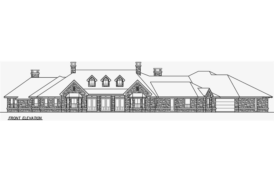 Home Plan Front Elevation of this 4-Bedroom,6610 Sq Ft Plan -195-1162