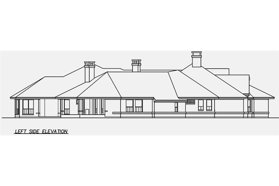Home Plan Left Elevation of this 4-Bedroom,6610 Sq Ft Plan -195-1162