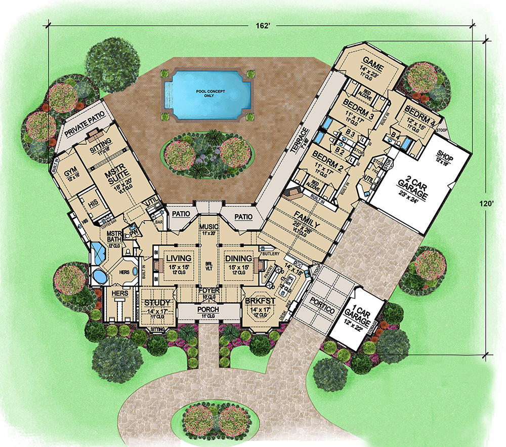 4 bedrm 6610 sq ft georgian house plan 195 1162 for One story luxury house plans