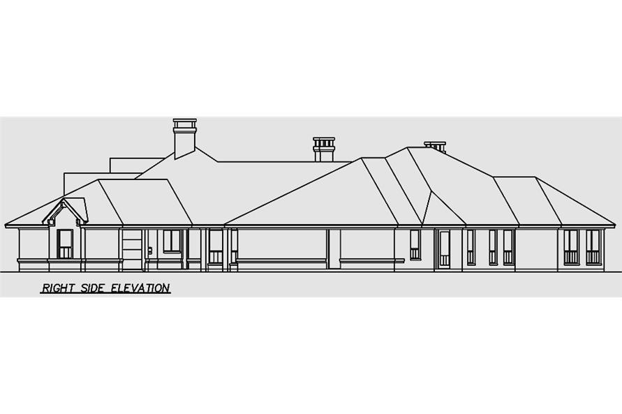 Home Plan Right Elevation of this 4-Bedroom,6610 Sq Ft Plan -195-1162