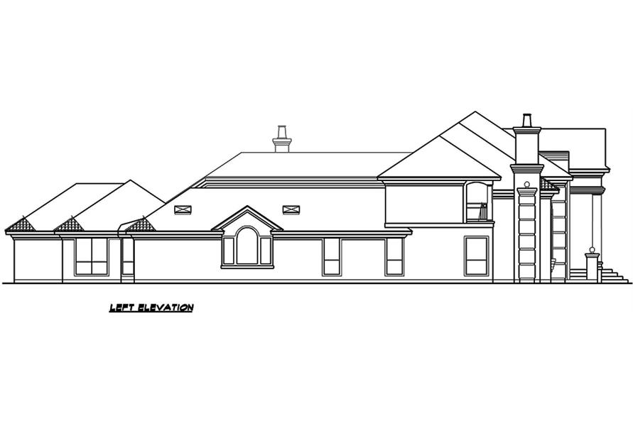 Home Plan Left Elevation of this 4-Bedroom,6024 Sq Ft Plan -195-1165