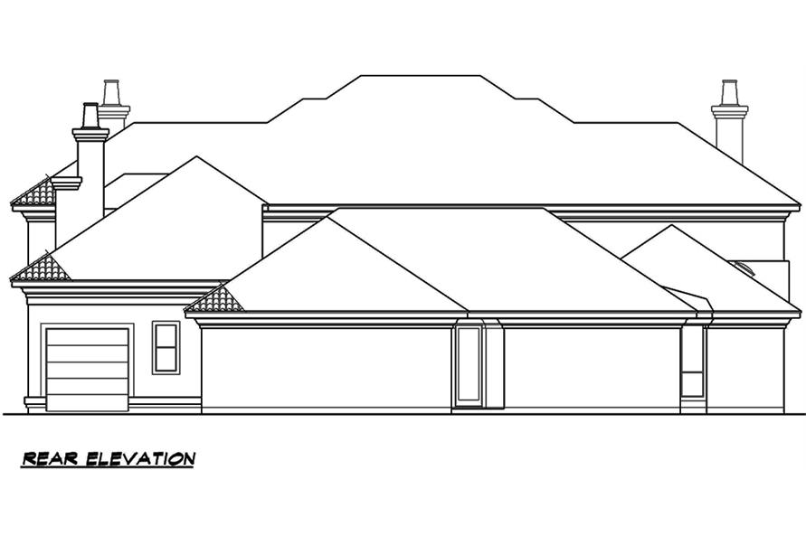 Home Plan Rear Elevation of this 4-Bedroom,6024 Sq Ft Plan -195-1165