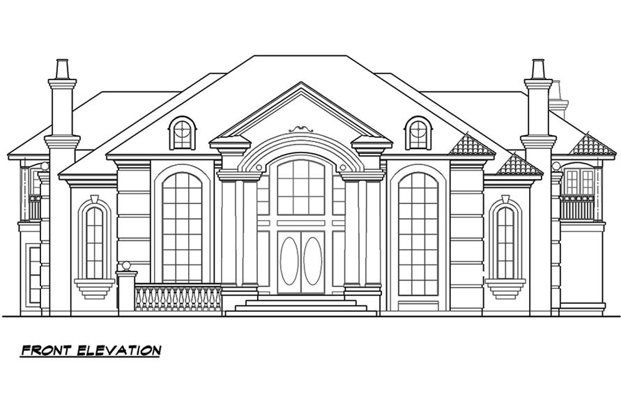 Home Plan Front Elevation of this 4-Bedroom,6024 Sq Ft Plan -195-1165