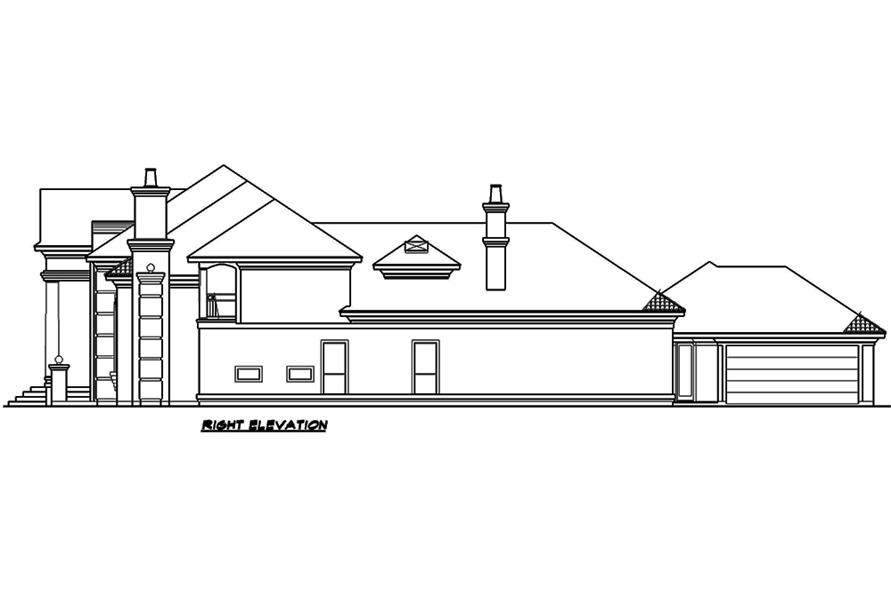 Home Plan Right Elevation of this 4-Bedroom,6024 Sq Ft Plan -195-1165
