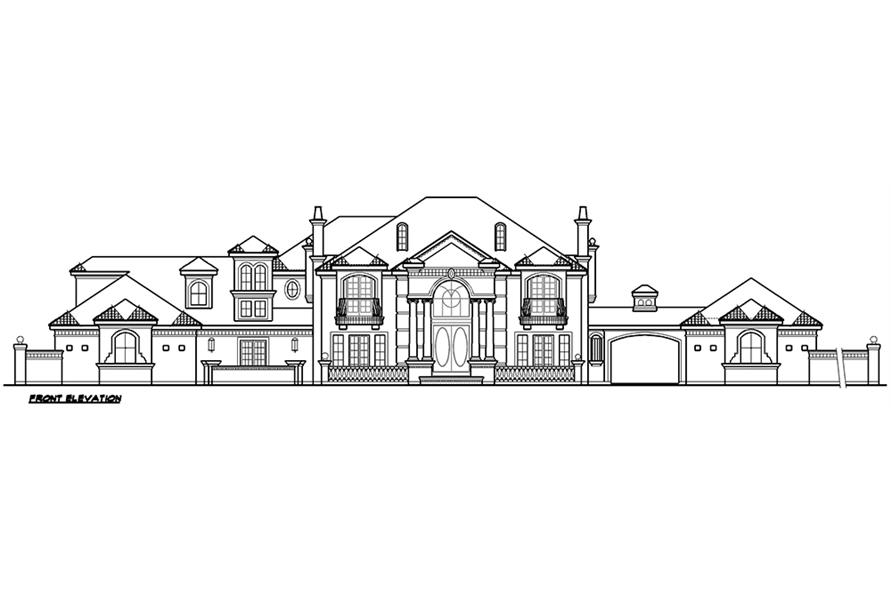 Home Plan Front Elevation of this 5-Bedroom,6969 Sq Ft Plan -195-1167